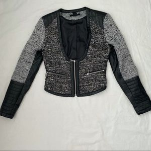 H&M Faux Leather and Tweed Cropped Moto Jacket